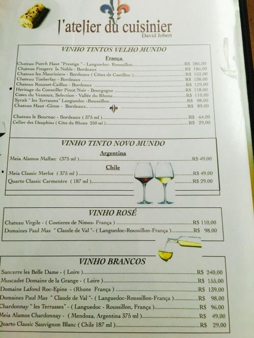 Carta de Vinhos L' Atelier du Cuisinier